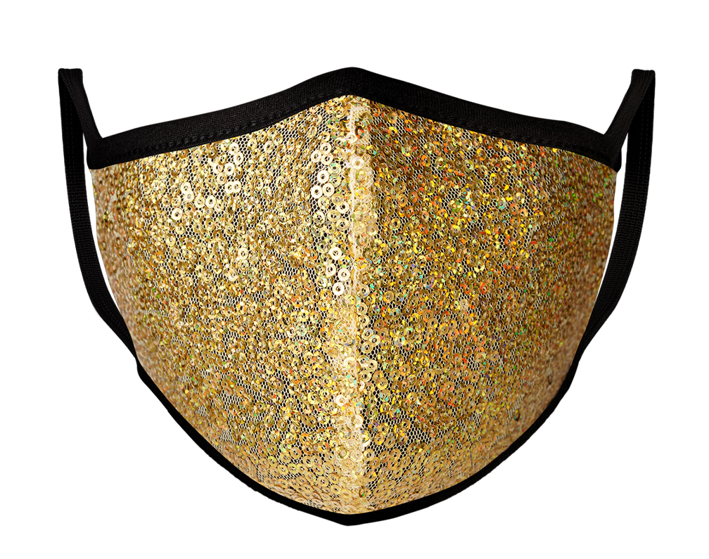 Gold Sequin | Face Mask | 100% Cotton | Made in USA | Reusable | Comfy Protective Washable Covering Cloth - Mason Brand Mask