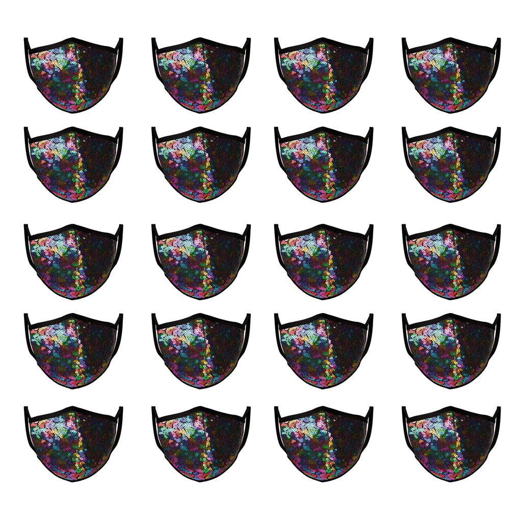 Mason Brand Masks Rainbow Sequin 20 Pack | Face Mask | 100% Cotton | Made in USA | Reusable | Comfy Protective Washable Covering Cloth - Mason Brand Mask
