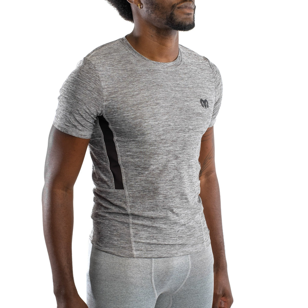 Quick Dry Compression Gym T-Shirt, Heather Grey