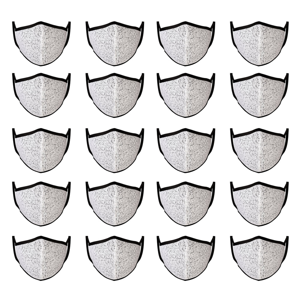 Mason Brand Masks White Sequin 20 Pack | Face Mask | 100% Cotton | Made in USA | Reusable | Comfy Protective Washable Covering Cloth - Mason Brand Mask