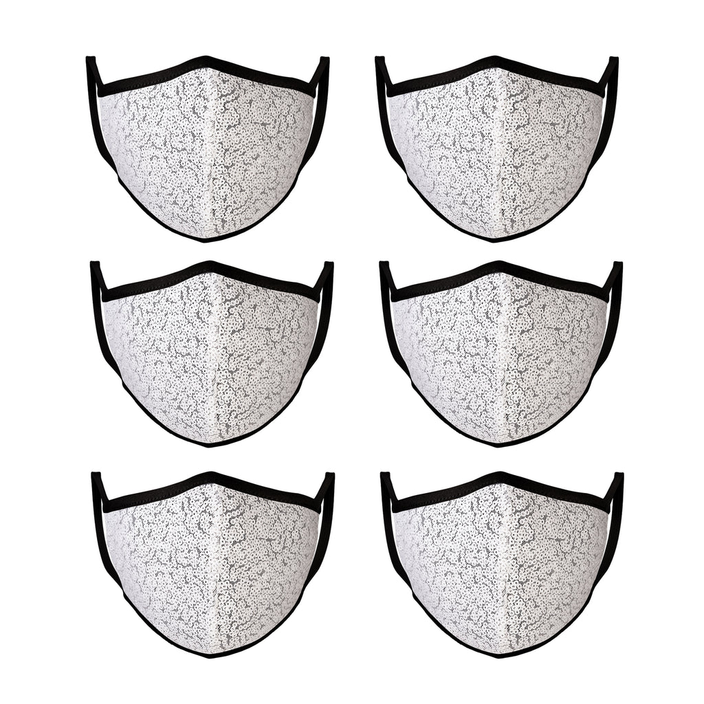 Mason Brand Masks White Sequin 6 Pack | Face Mask | 100% Cotton | Made in USA | Reusable | Comfy Protective Washable Covering Cloth - Mason Brand Mask