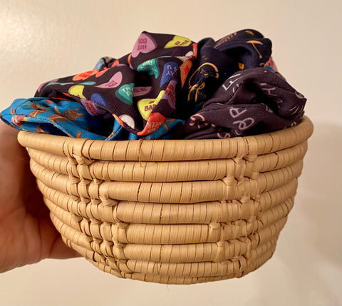 store your scrunchies in a basket so they are easily accessible