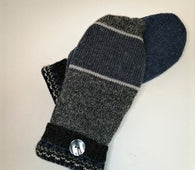 Upcycled Mittens - blue & gray