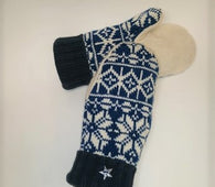 Upcycled Mittens - blue & cream snowflake