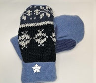 Upcycled Mittens - blues