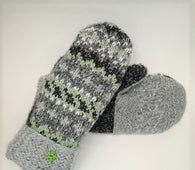 Upcycled Mittens - grays & green