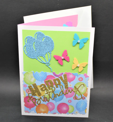 Happy Birthday Card (balloons & butterflies)