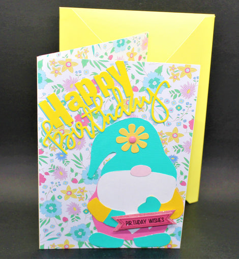 Happy Birthday Card (yellow & blue gnome)