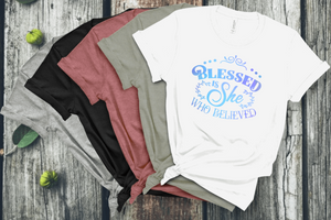 Blessed Is She Who Believed Short Sleeve Women's Tshirt