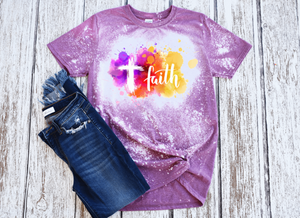 Faith Women's Short Sleeve Bleached Tshirt