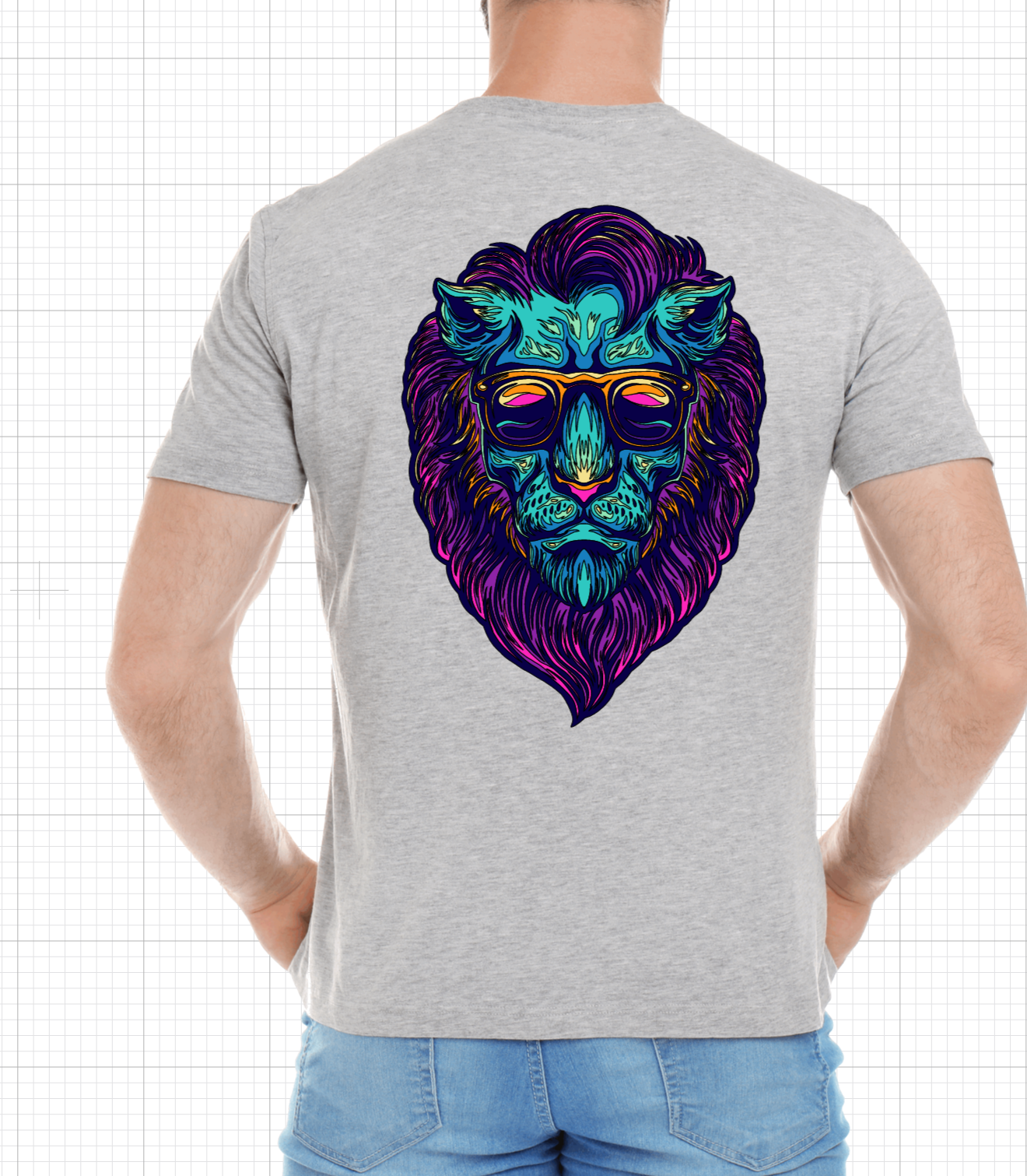 Retro Color Lion Short Sleeve Tshirt For Him