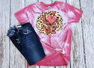 Leopard Print and LOVE Bleached Women's Short Sleeve Tshirt