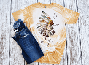 BOHO Indian Headdress Bleached Women's Short Sleeve Tshirt