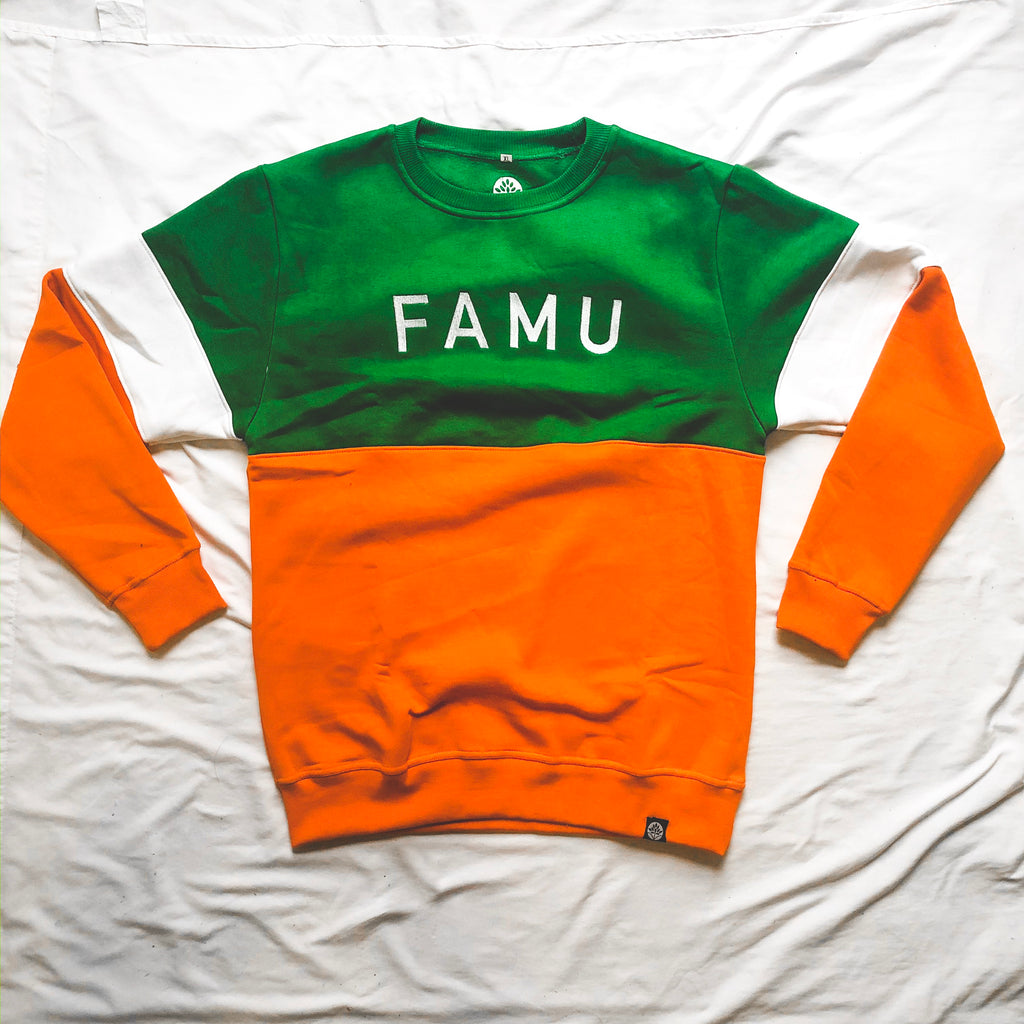 FAMU Vintage Embroidered Color Block Sweatshirt - HeritageHill
