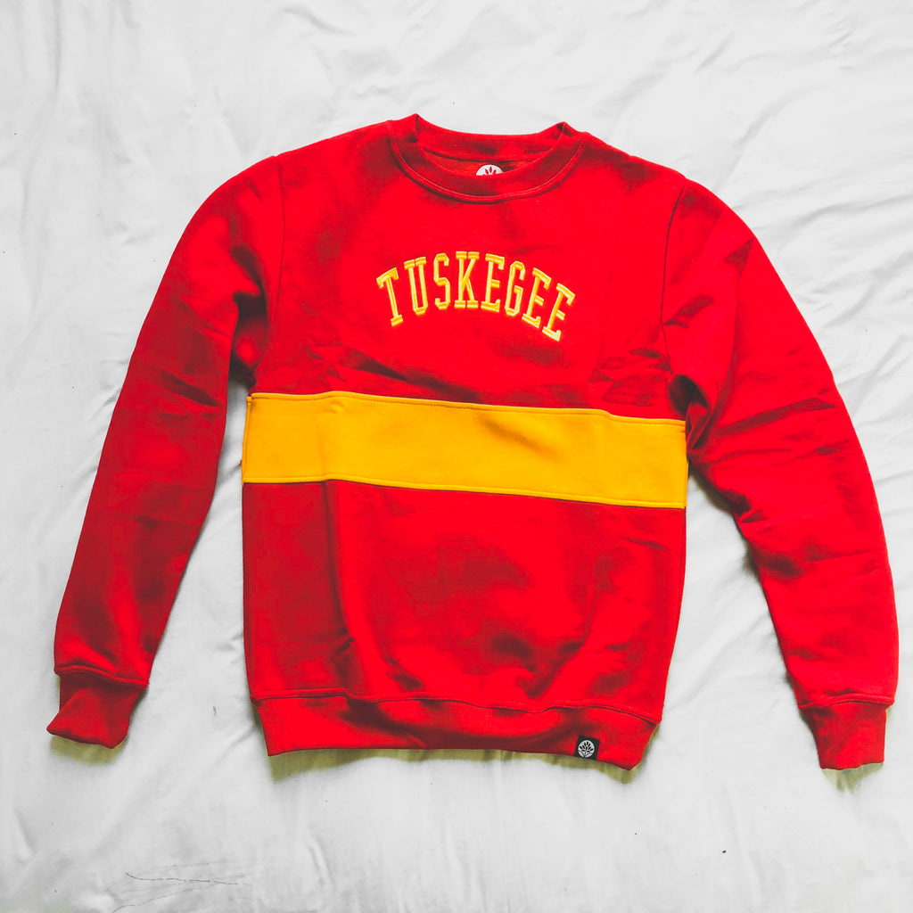 Tuskegee Embroidered Vintage Color Block Sweatshirt - HeritageHill