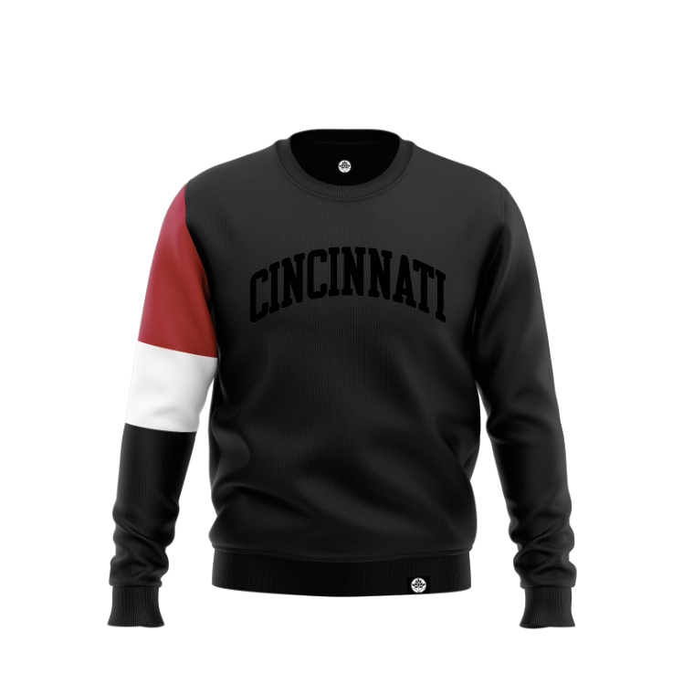 Cincinnati Blk on Blk Colorblock Sweatshirt - HeritageHill
