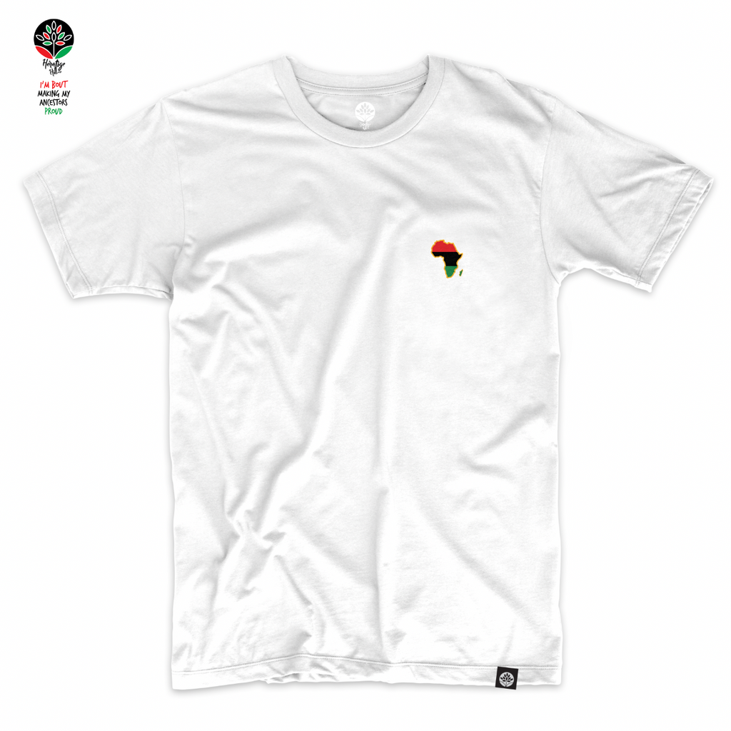 Embroidered Home is Africa White T-Shirt - HeritageHill