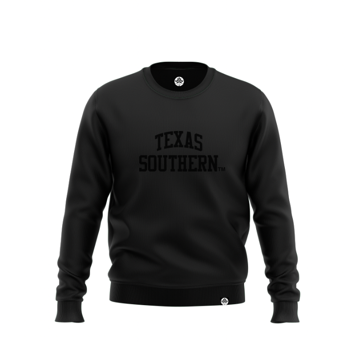 Texas Southern University BLK on BLK Onyx Sweatshirt - HeritageHill