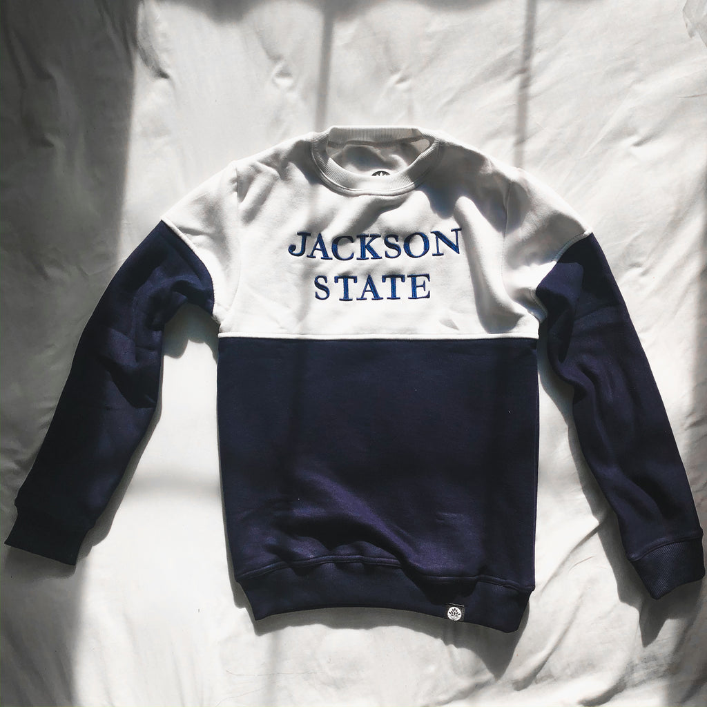 Jackson State 80s Color Block Embroidered Sweatshirt - HeritageHill