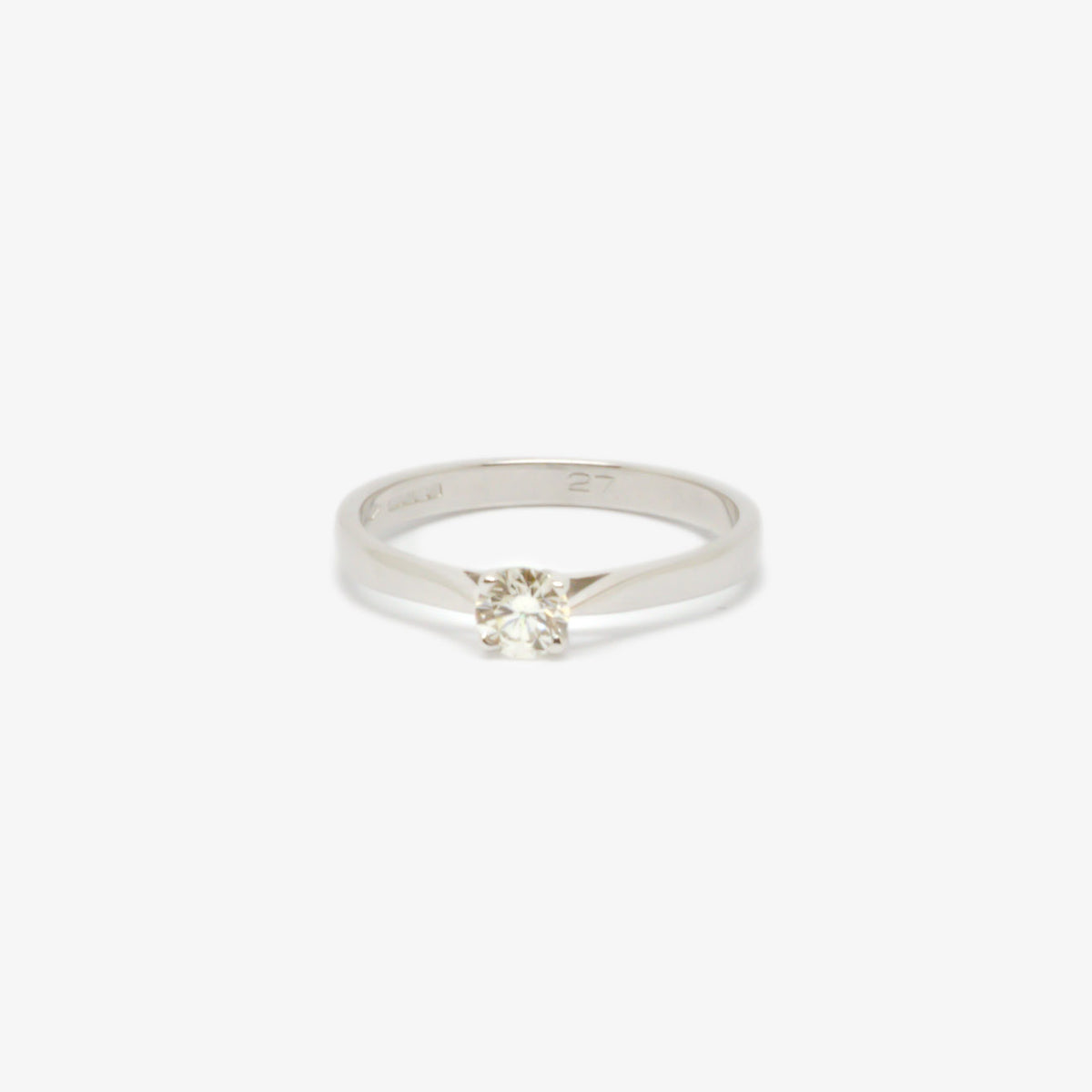 0.27 Carat Four Claw White Gold Diamond Solitaire Ring
