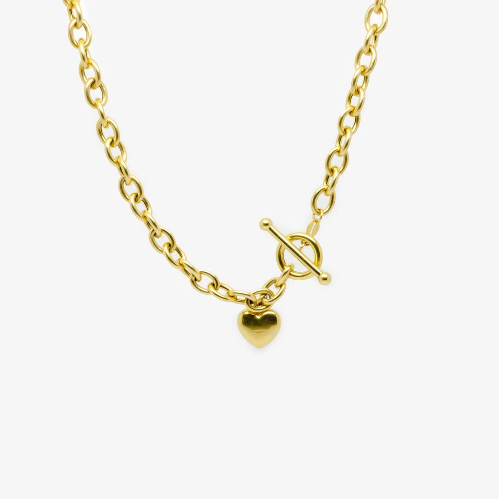 Jordans Jewellers 9ct yellow gold pre-owned heart t-bar necklace