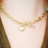 Jordans Jewellers 9ct yellow gold pre-owned heart t-bar necklace - Alternate shot 1 - Model shot 1
