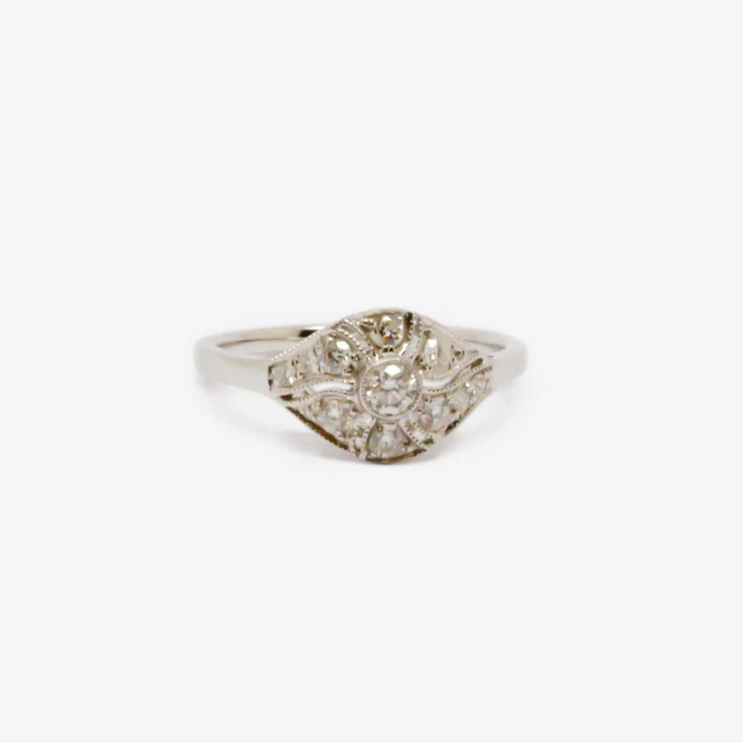 Jordans Jewellers 18ct white gold diamond Art Deco style ring