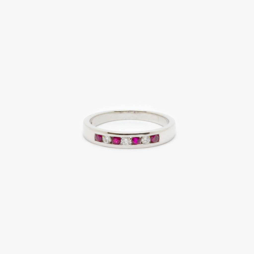 Jordans Jewellers 18ct white gold channel set ruby and diamond ring