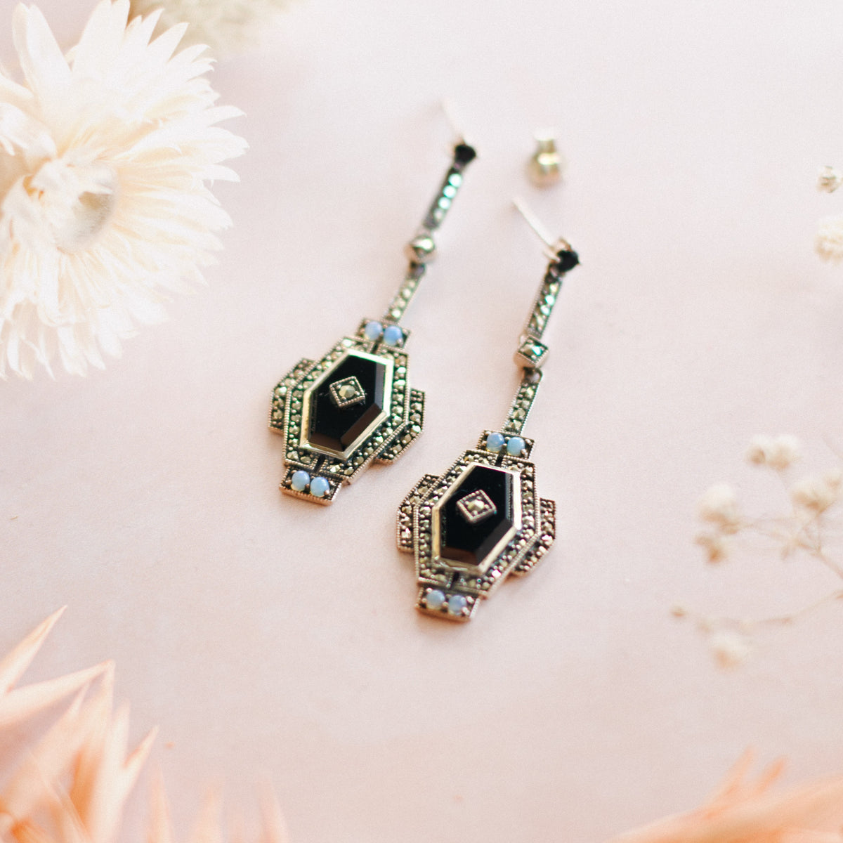 Art Deco Style Marcasite Black Onyx Drop Earrings