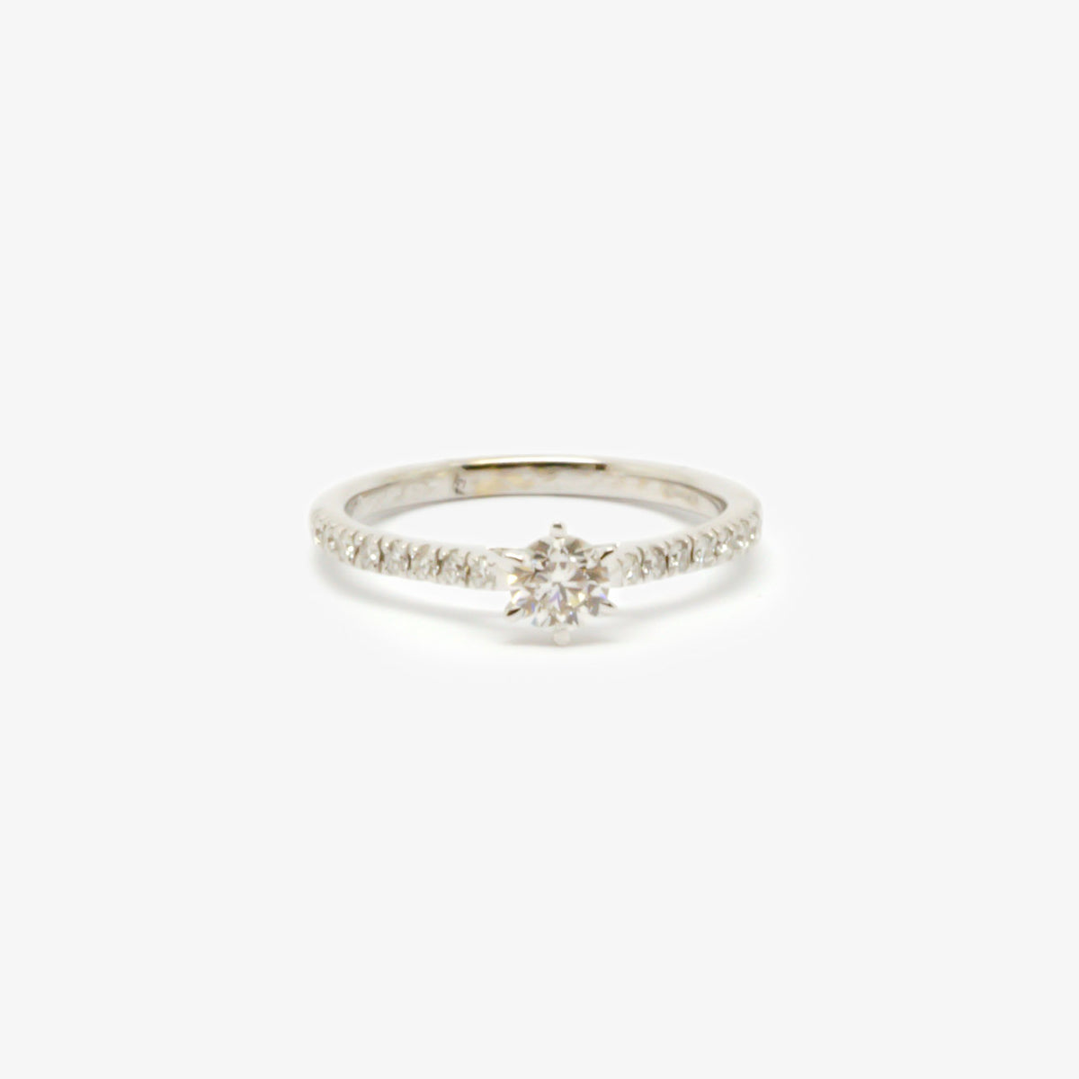 Six Claw Diamond Solitaire Ring With Diamond Shoulders