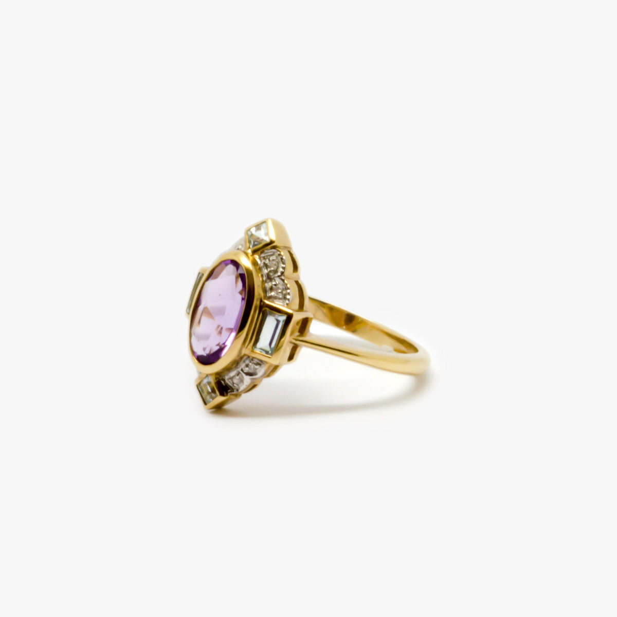 Amethyst, Diamond & Aquamarine Ring