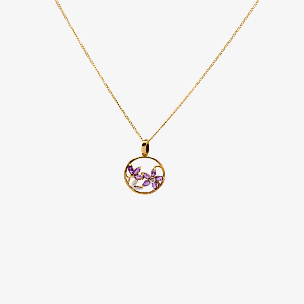 Amethyst Flower Pendant Necklace