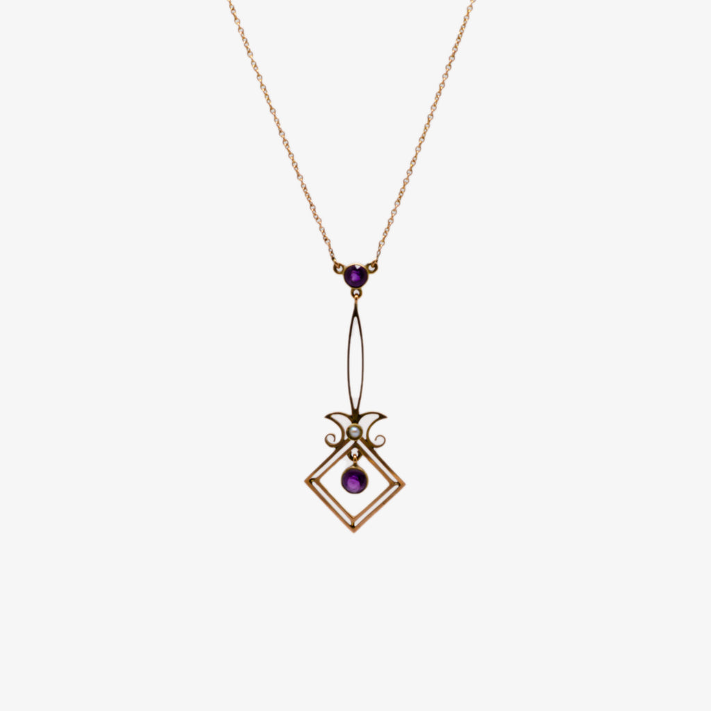 Jordans Jewellers 9ct gold antique amethyst and pearl lavalier drop necklace