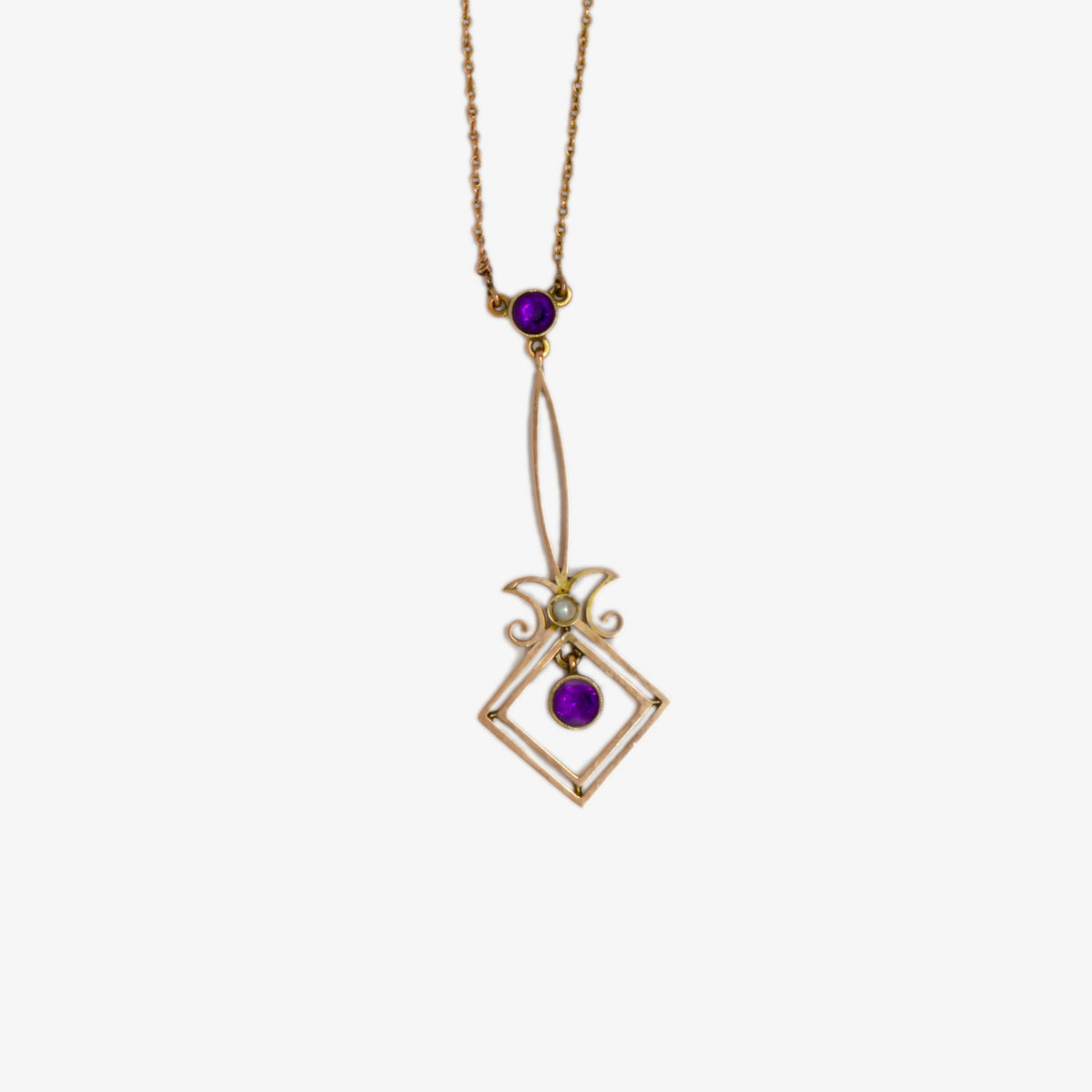Antique Amethyst & Pearl Lavalier Necklace