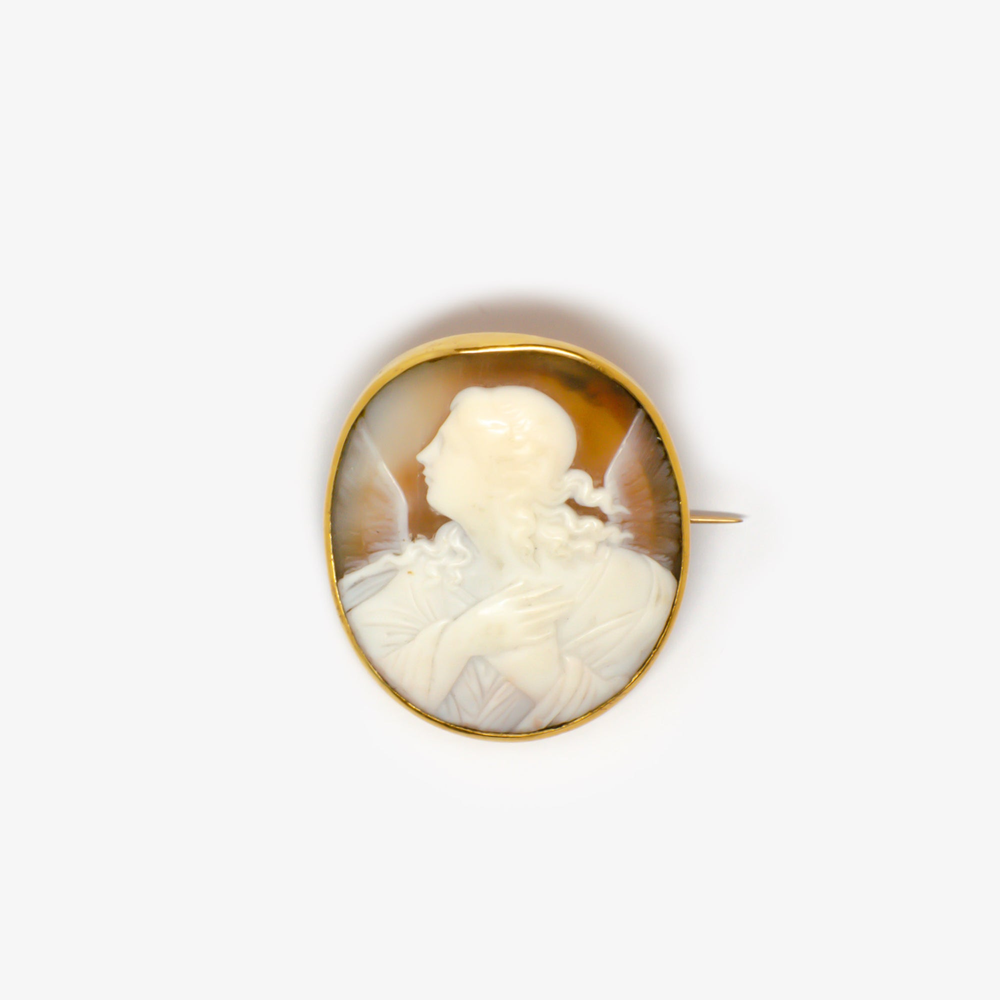 Jordans Jewellers antique and Italian winged angel cameo brooch