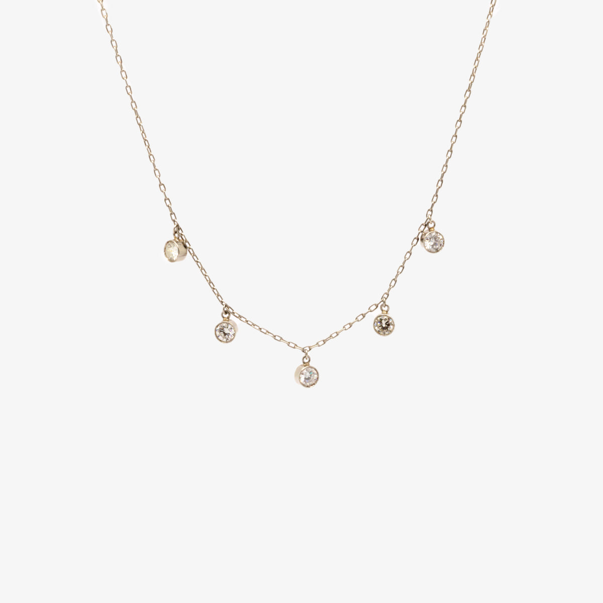 Antique Diamond Droplet Necklace