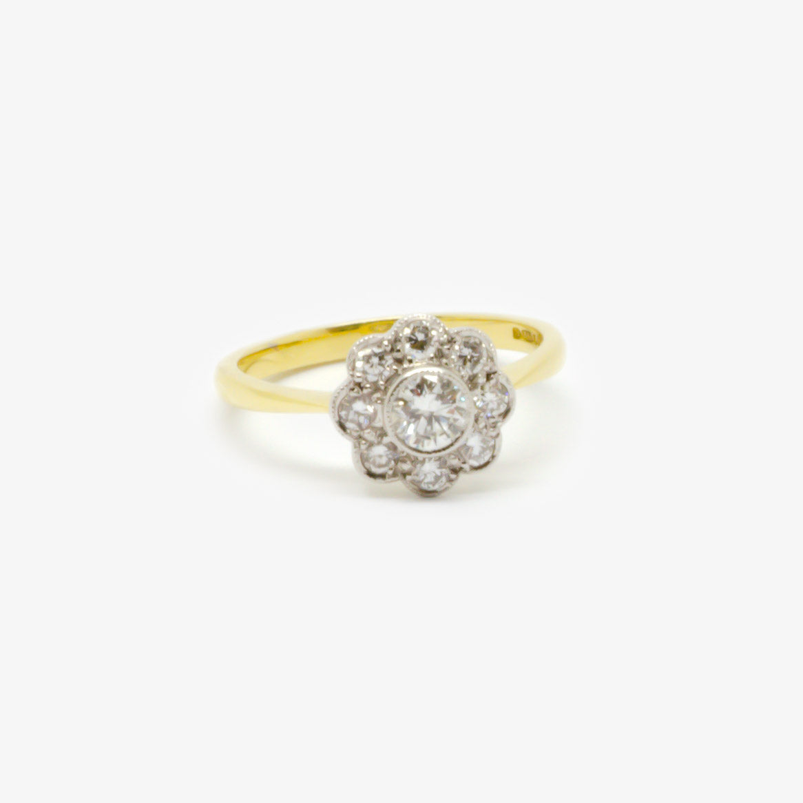 Jordans Jewellers 18ct gold antique diamond daisy cluster ring