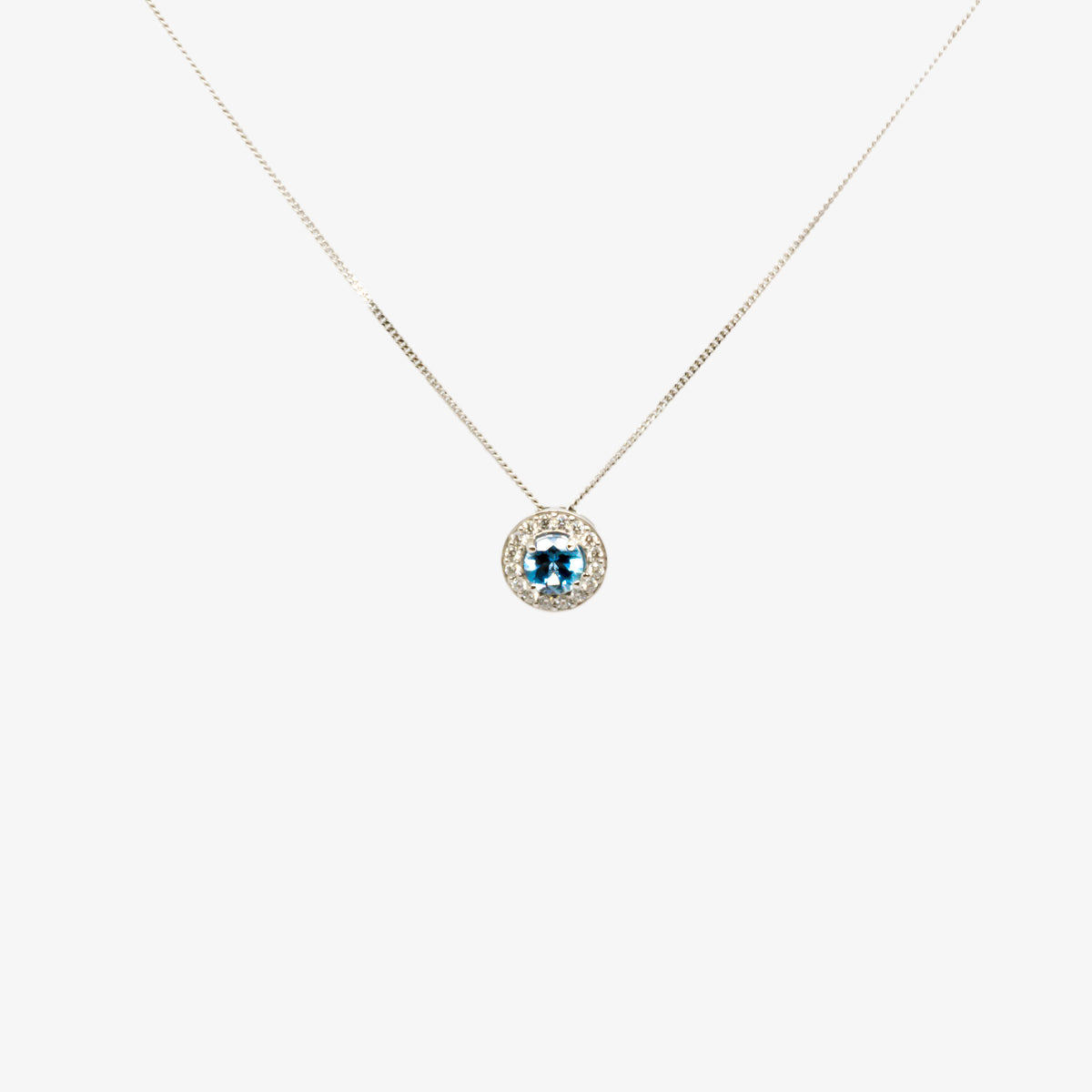 Blue aquamarine and diamond cluster pendant necklace in white gold