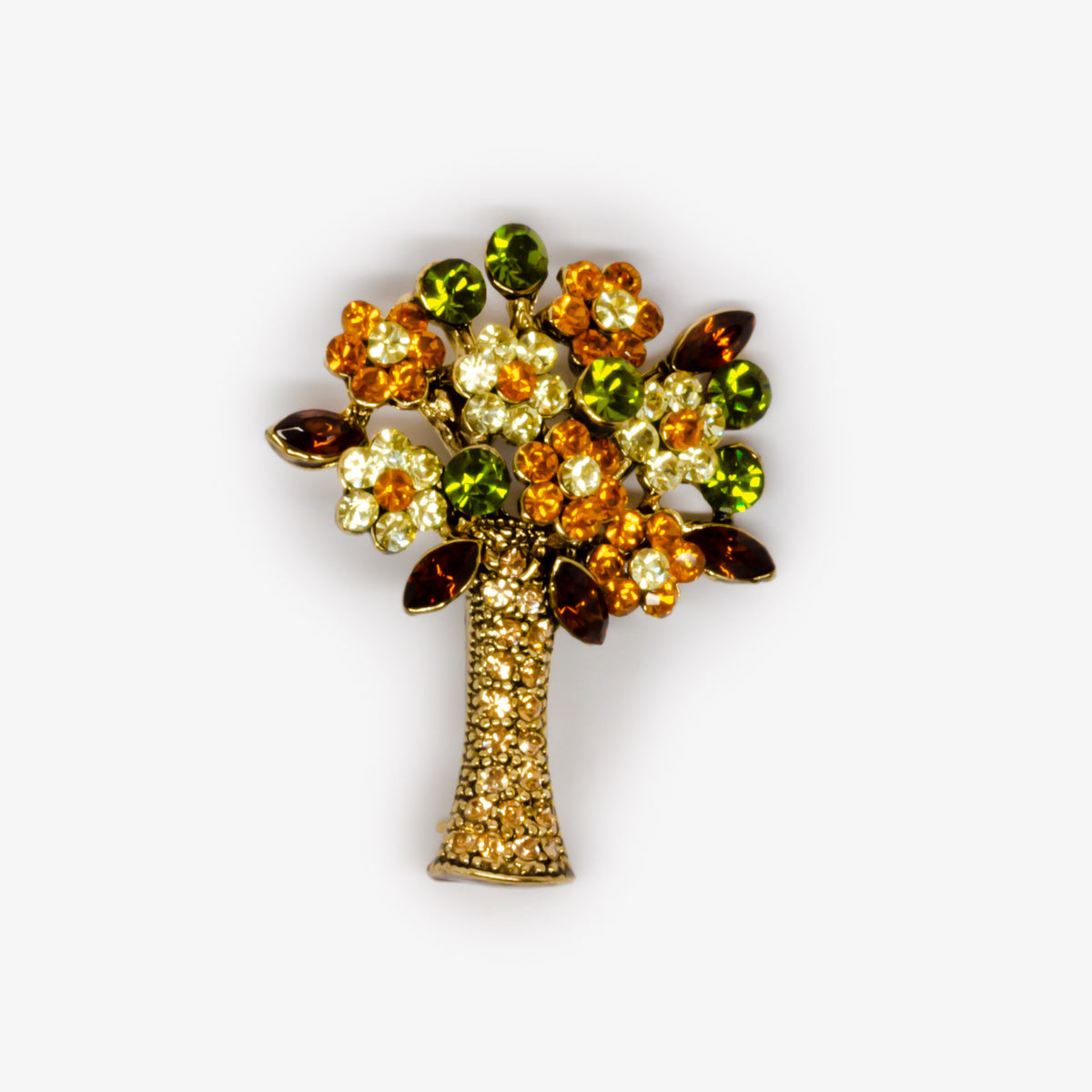 Autumn Coloured Flower Brooch