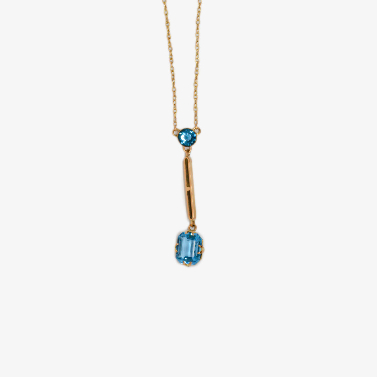 Jordans Jewellers 9ct yellow gold antique double drop blue paste lavalier necklace - Alternate shot 1