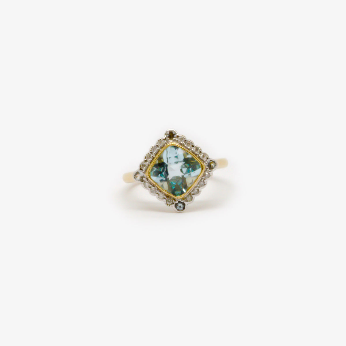 Light Blue Topaz & Diamond Ring