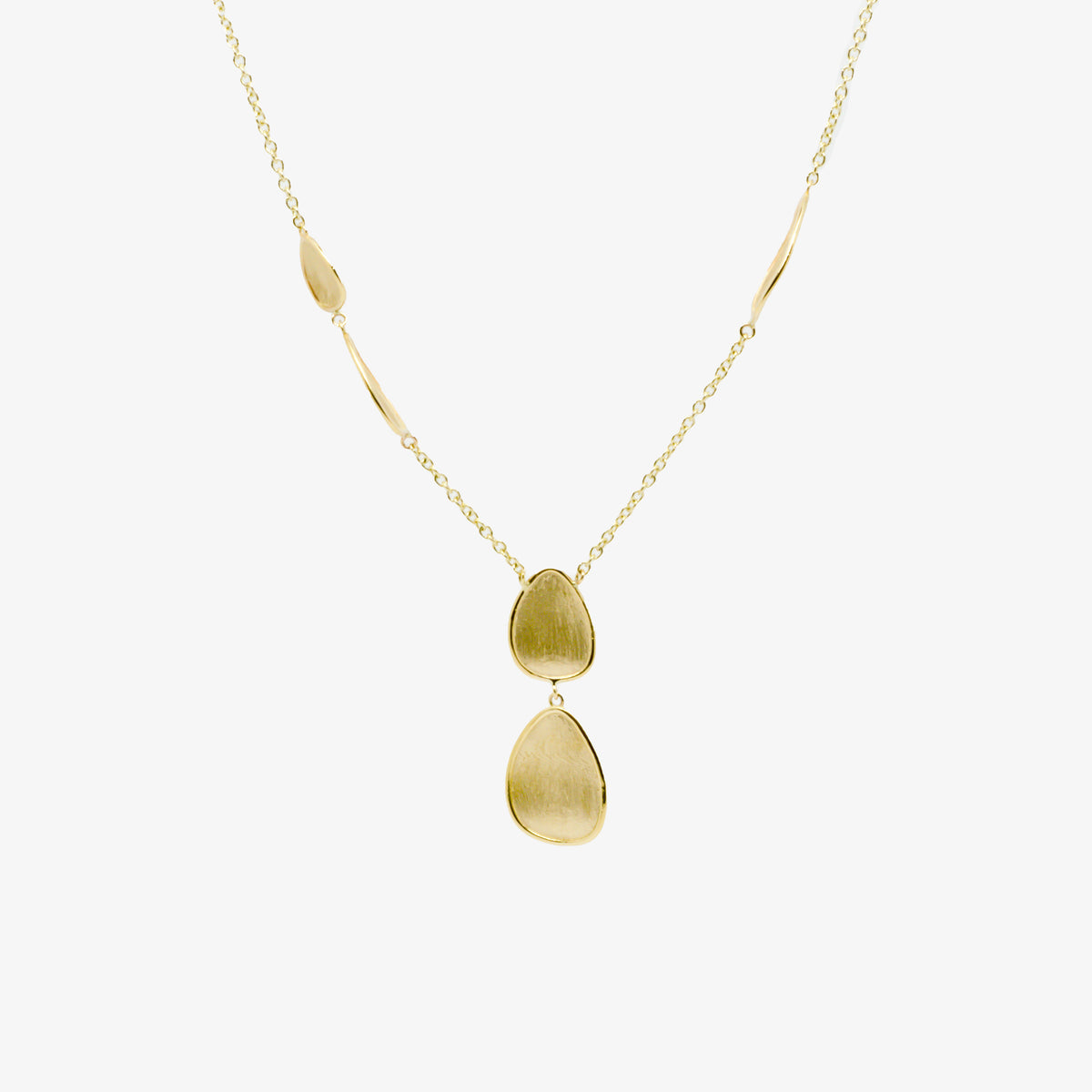 Oval Brushed Gold Drop Necklace