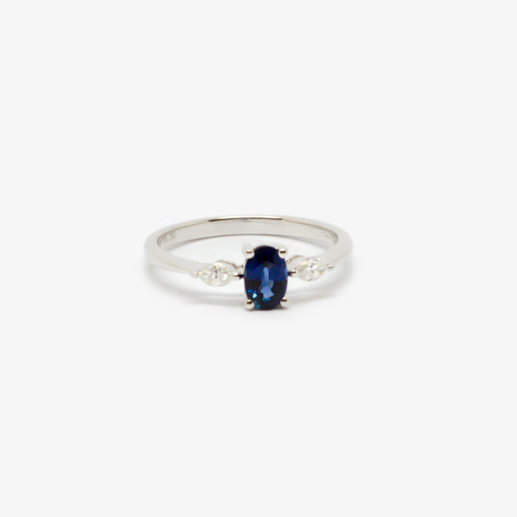 Jordans Jewellers 18ct white gold sapphire and marquise diamond ring