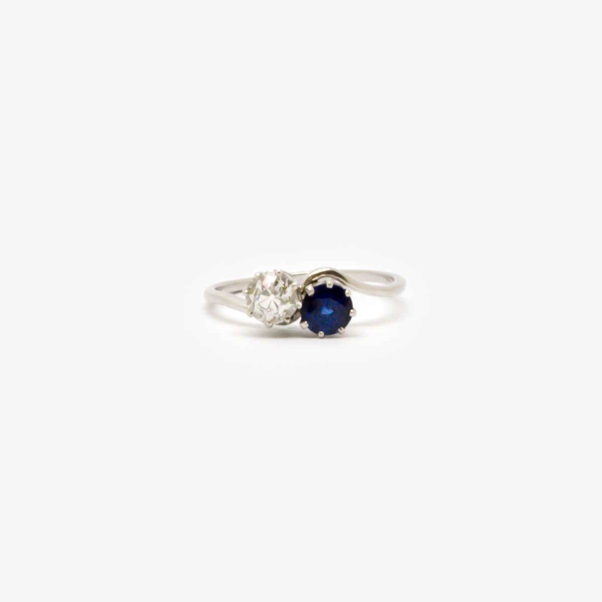 Antique Diamond & Sapphire Crossover Ring