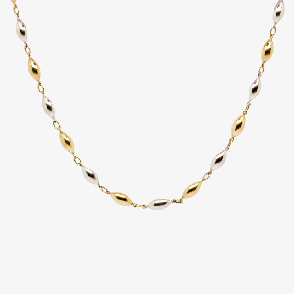 Jordans Jewellers 9ct gold oval dual colour necklace