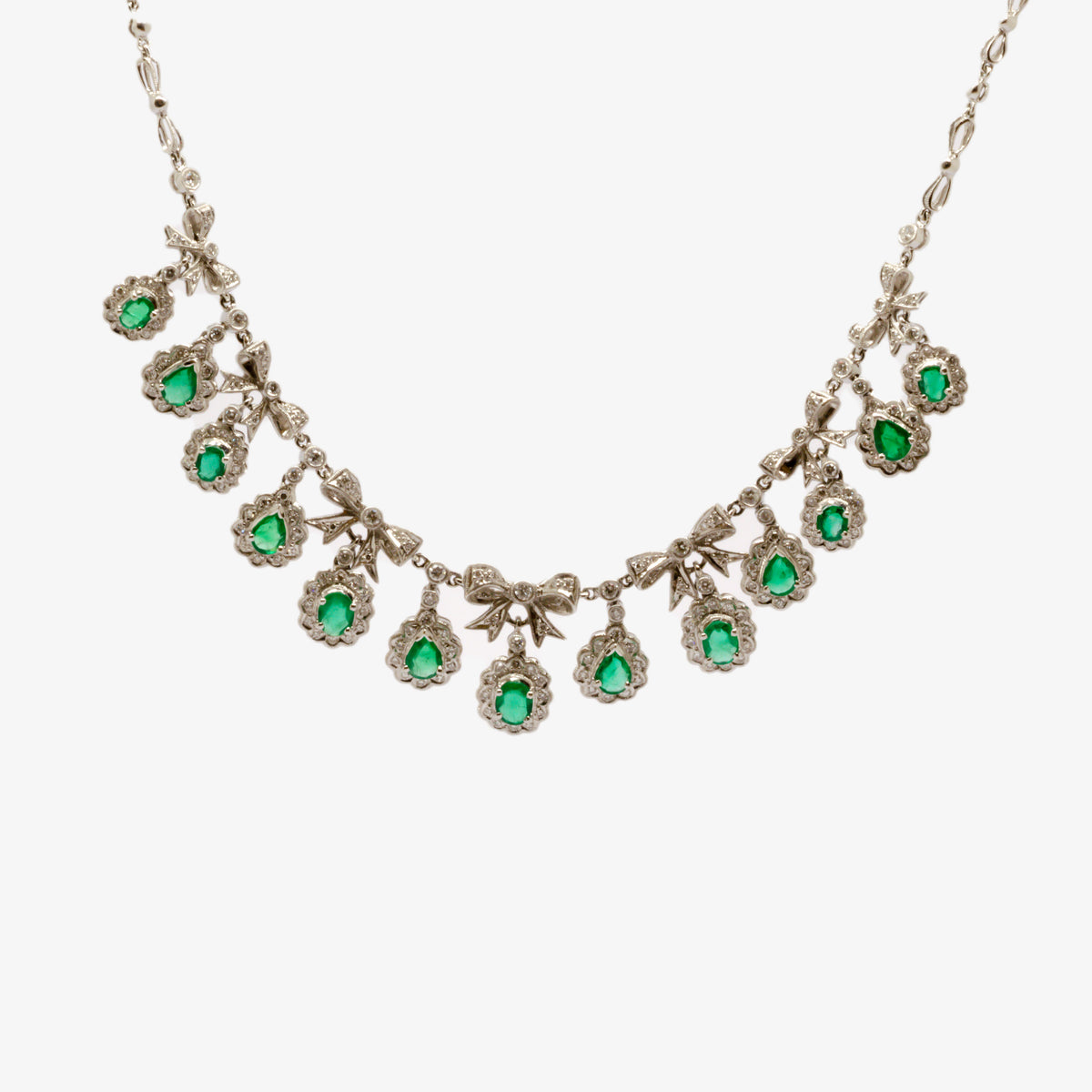 Emerald & Diamond Bow Necklace