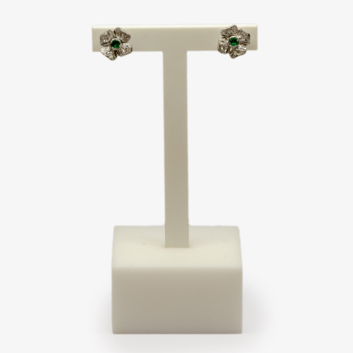 Emerald & Diamond Flower Stud Earrings