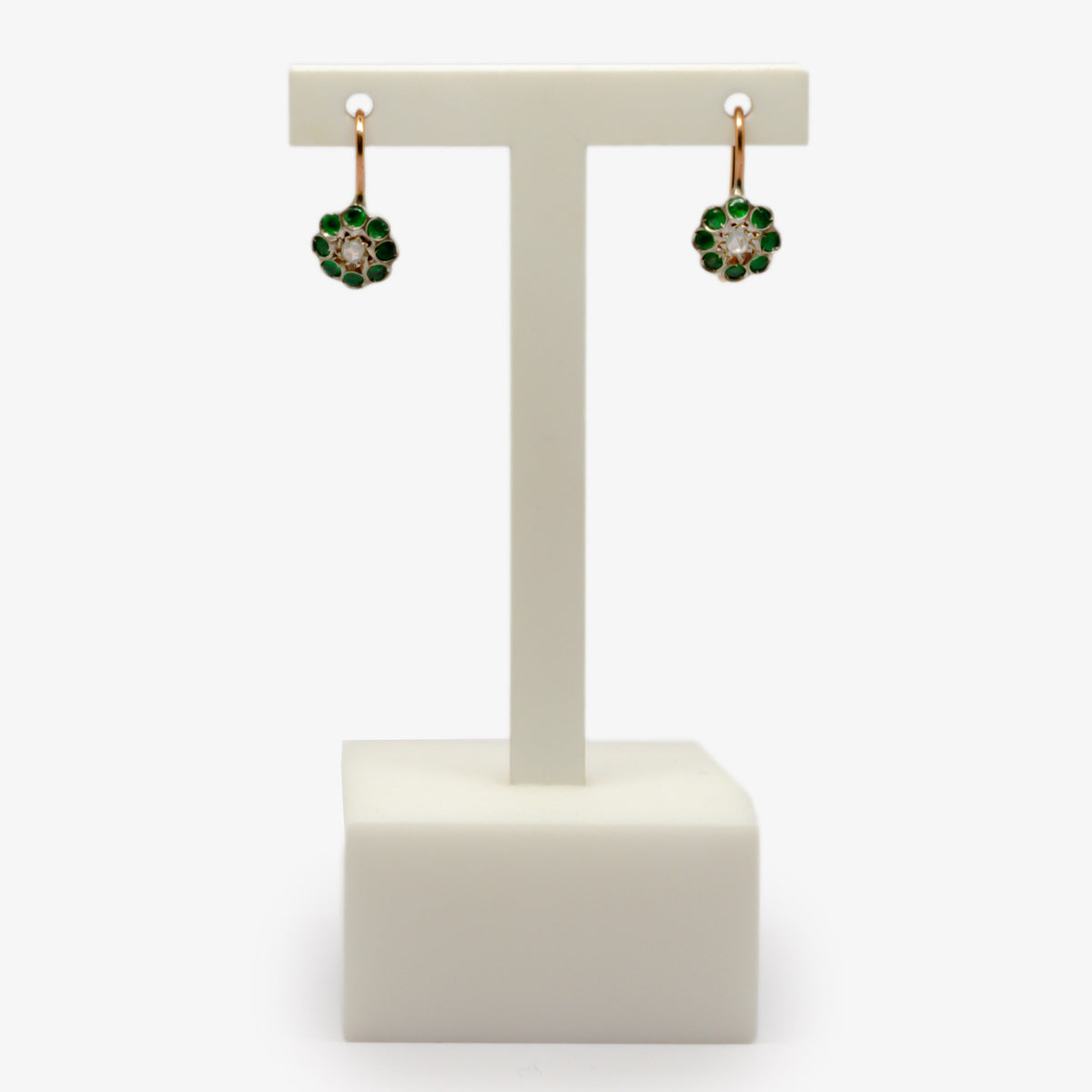 Emerald & Diamond Cluster Drop Earrings