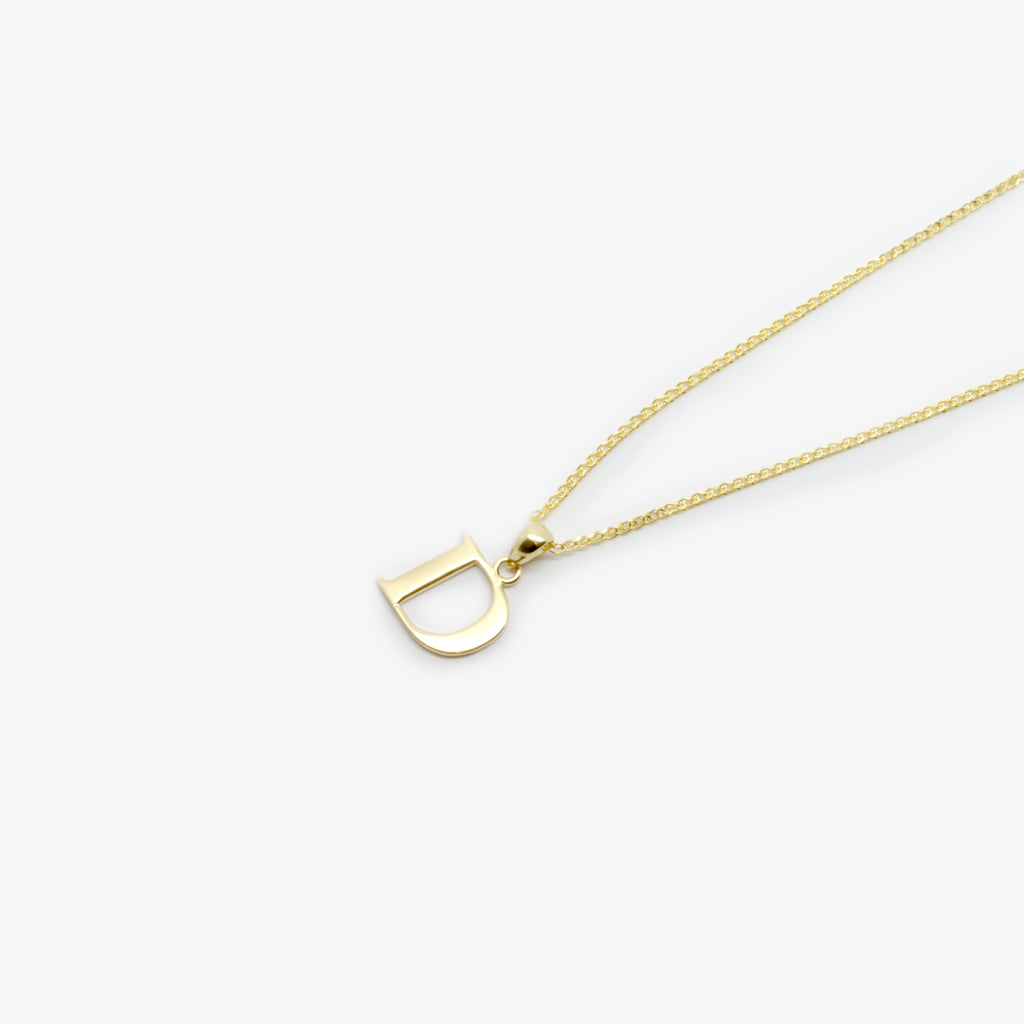 "Jordans Jewellers 9ct yellow gold ""D"" pendant necklace"