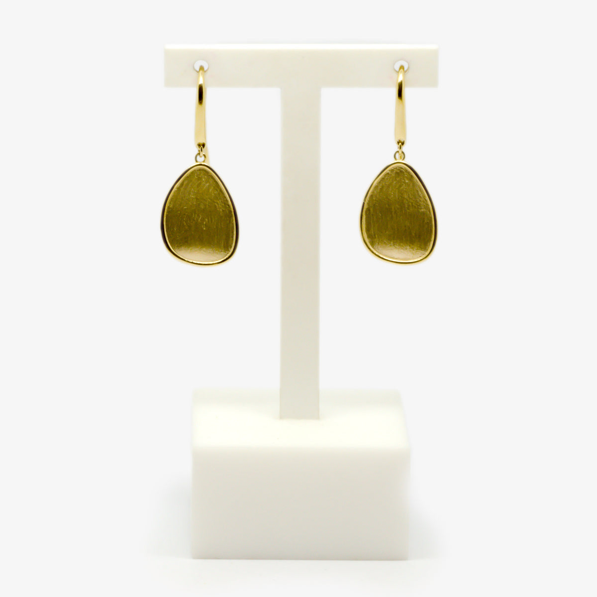 Oval Brushed Gold Drop Earrings